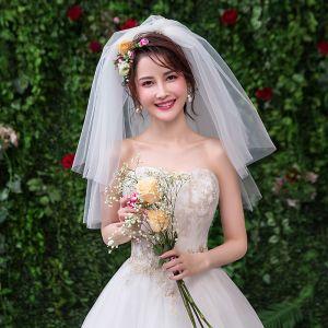 Simple Blanche Mariage Courte Tulle Voile De Mariée 2019