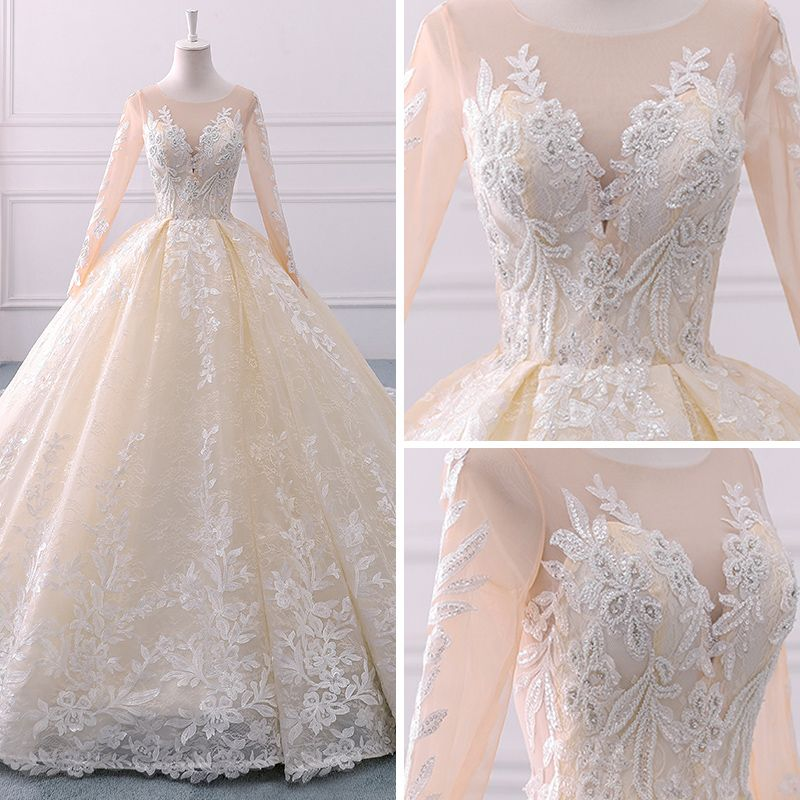 Luxury / Gorgeous Champagne See-through Wedding Dresses 2018 Ball Gown Scoop Neck Long Sleeve Appliques Lace Beading Pearl Sequins Royal Train Ruffle