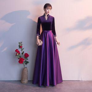 Vintage / Retro Grape Evening Dresses  2019 A-Line / Princess V-Neck Bow 3/4 Sleeve Floor-Length / Long Formal Dresses