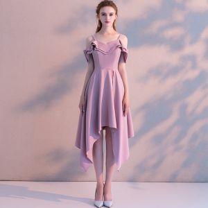 Simple Rose Bonbon de retour Robe De Graduation 2018 Princesse Bretelles Spaghetti Manches Courtes Asymétrique Volants Dos Nu Robe De Ceremonie