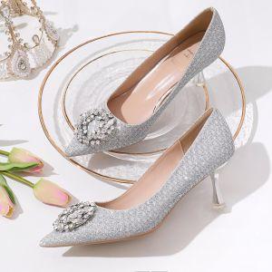 Sparkly Silver Rhinestone Wedding Shoes 2020 Glitter Sequins 8 cm Stiletto Heels Pointed Toe Wedding Pumps