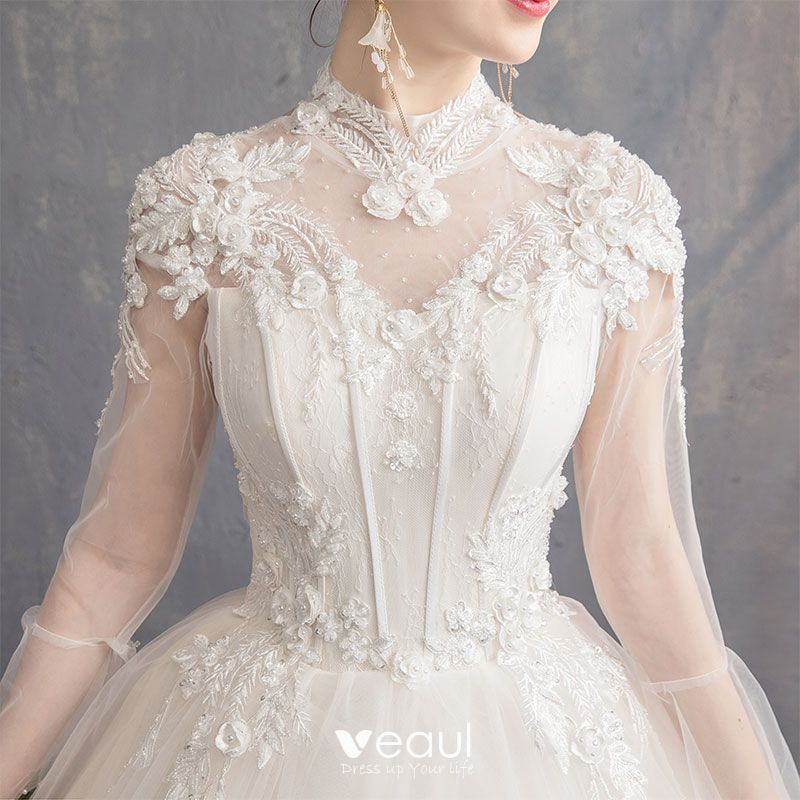 Elegant Champagne Wedding Dresses 2019 A-Line / Princess High Neck Appliques Lace Flower Beading Pearl Sequins Long Sleeve Backless Floor-Length / Long