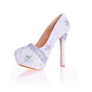 Charmant Ivory / Creme Perle Strass Brautschuhe 2020 Leder Wasserdichte 14 cm Stilettos Spitzschuh Hochzeit Pumps