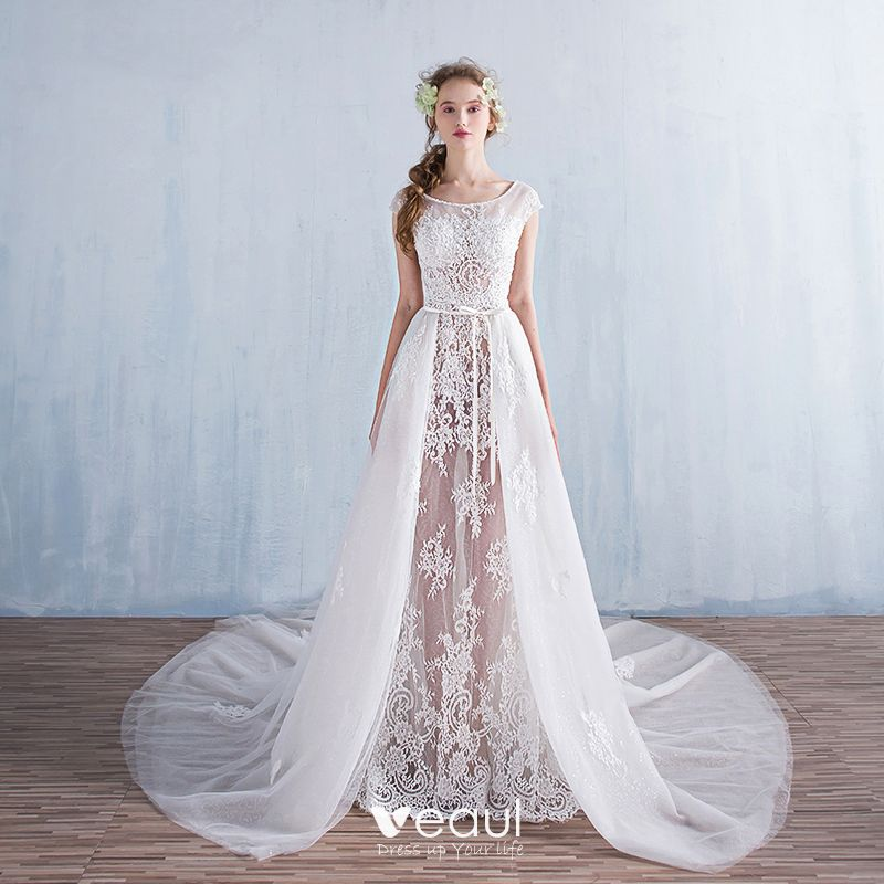 Detachable Cathedral Train Wedding Gown: Modern / Fashion A-Line / Princess Beach Wedding Dresses