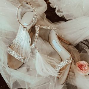 Charming Beige Wedding Shoes 2019 Rhinestone Feather 9 cm Stiletto Heels Open / Peep Toe Wedding High Heels
