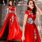 Chinese Stijl Betaalbare Rode Satijn Avondjurken 2019 A lijn Hoge Kraag Mouwloos Geborduurde Bloem Strik Gordel Lange Ruche Ruglooze Gelegenheid Jurken