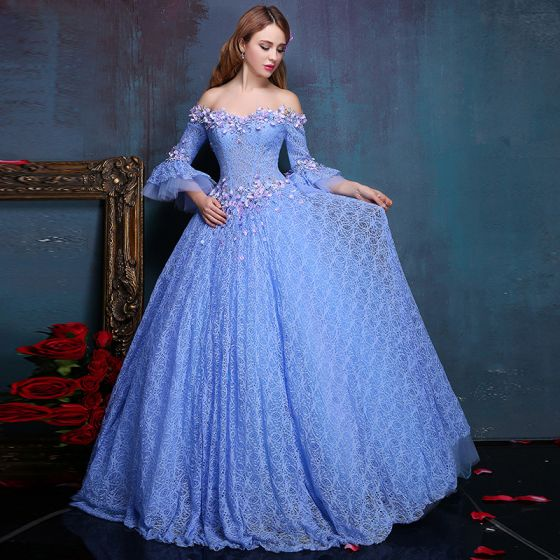 Flower Fairy Ocean Blue Floor-Length / Long Ball Gown Prom Dresses 2018 Tulle Beading Pearl Appliques Backless Formal Dresses