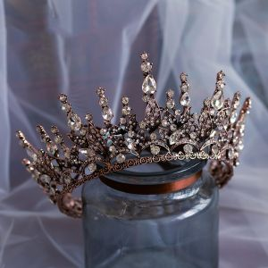 Vintage / Retro Baroque Brown Bridal Hair Accessories 2020 Metal Rhinestone Tiara Wedding Accessories