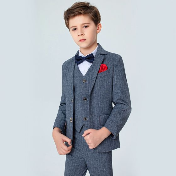 Modest / Simple Spotted Tie Grey Boys Wedding Suits 2020