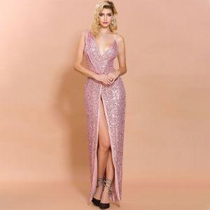 Sexy Rose Bonbon Paillettes Robe De Soirée 2020 Trompette / Sirène épaules Col v profond Sans Manches Fendue devant Longue Robe De Ceremonie