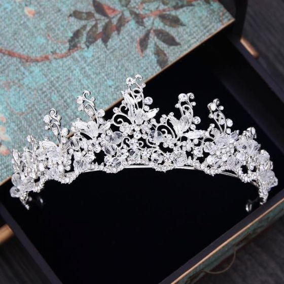 Sparkly Silver Tiara 2018 Metal Rhinestone Crystal Wedding Accessories