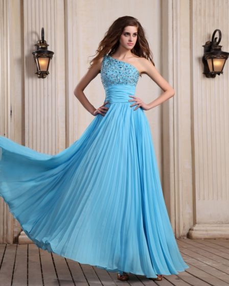 Sleeveless Chiffon Beading Ruffles One Shoulder Floor Length Blue Evening Dresses