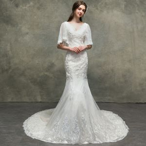 Luxury / Gorgeous Ivory Wedding Dresses 2018 Trumpet / Mermaid Beading Lace Flower V-Neck 1/2 Sleeves Court Train Wedding