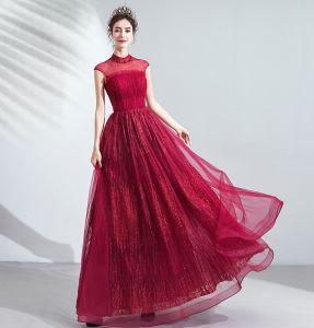 Vintage Burgund Sukienki Wieczorowe 2020 Princessa Wzburzyć Wysokiej Szyi Frezowanie Kryształ Cekiny Bez Rękawów Bez Pleców Długie Sukienki Wizytowe