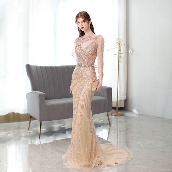 Wysokiej Klasy Szampan Wykonany Ręcznie Frezowanie Rhinestone Sukienki Wieczorowe 2021 Syrena / Rozkloszowane V-Szyja Bez Rękawów Bez Pleców Trenem Sweep Sukienki Wizytowe
