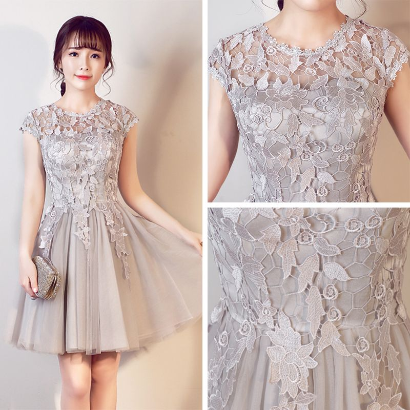 Affordable Hall Graduation Dresses 2017 Grey Short A-Line / Princess Scoop Neck Short Sleeve Backless Lace Appliques