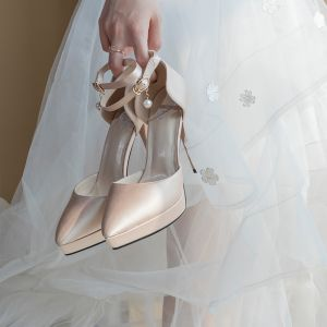 Moderne / Mode Champagne Chaussure De Mariée 2020 Bride Cheville 11 cm Talons Aiguilles À Bout Pointu Mariage Talons