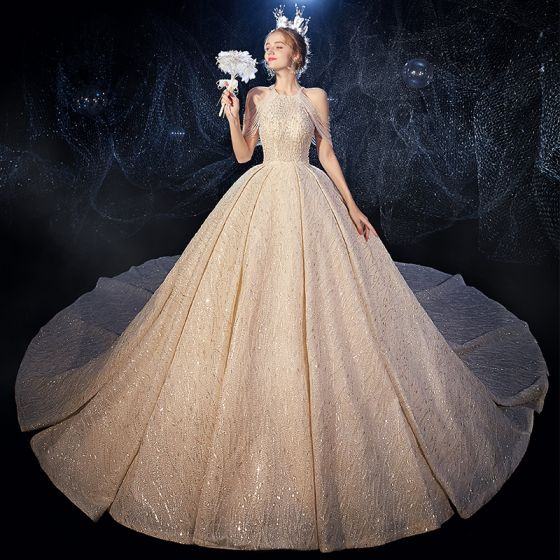 Luxury / Gorgeous Champagne Wedding Dresses 2020 Ball Gown Scoop Neck Sleeveless Backless Beading Glitter Tulle Cathedral Train Ruffle