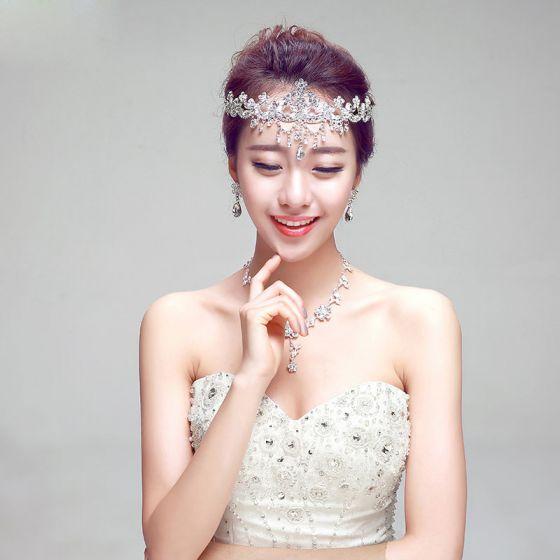 Shine Rhinestone Bridal Jewellery Tiara / Earrings / Necklace Three-piece