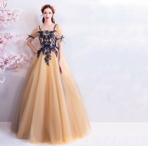 Classic Elegant Yellow Floor-Length / Long Evening Dresses  2018 A-Line / Princess U-Neck Tulle Embroidered Backless Beading Evening Party Prom Dresses