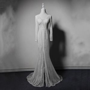 Elegant Ivory Lace See-through Evening Dresses  2019 Trumpet / Mermaid V-Neck Long Sleeve Split Front Sweep Train Ruffle Backless Formal Dresses