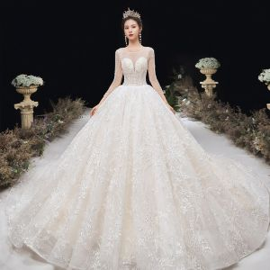 Romantic Champagne See-through Bridal Wedding Dresses 2020 Ball Gown Scoop Neck 3/4 Sleeve Backless Appliques Lace Handmade  Beading Cathedral Train Ruffle