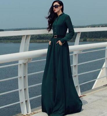 a89a7ae78 Moda Verde Oscuro Casual Vestidos largos 2019 Cinturón Scoop Escote Manga  Larga Largos Ropa de mujer