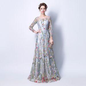 Abordable Gris Transparentes Robe De Soirée 2018 Princesse Encolure Dégagée Manches Longues Ceinture Appliques En Dentelle Longue Volants Robe De Ceremonie