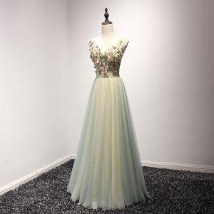 Chic / Belle Vert Cendré Champagne Robe De Soirée 2017 Princesse V-Cou Sans Manches Perlage Cristal Appliques En Dentelle Fleur Longue Volants Dos Nu Robe De Ceremonie