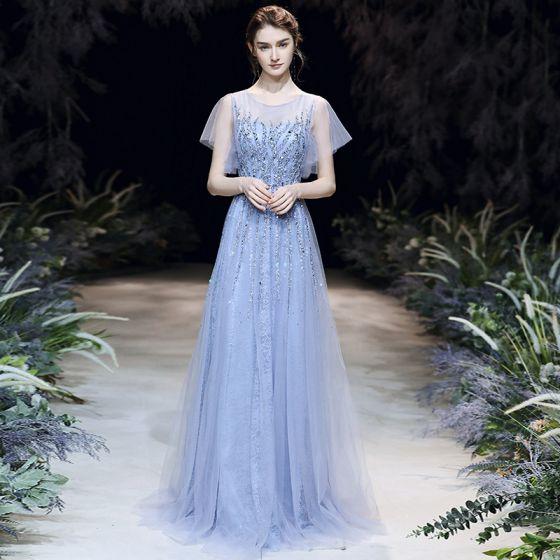 High-end Sky Blue Evening Dresses  2020 A-Line / Princess Square Neckline Short Sleeve Sequins Beading Floor-Length / Long Ruffle Formal Dresses