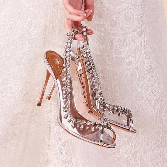 Piękne Srebrny Buty Ślubne 2018 Skórzany Rhinestone 8 cm Szpilki Peep Toe Ślub Wysokie Obcasy