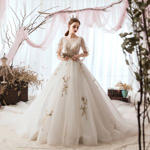 Elegant Ivory Wedding Dresses 2019 A-Line / Princess Scoop Neck Sequins Lace Flower Short Sleeve Cathedral Train