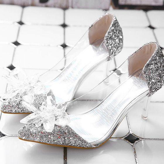 Cinderella Silver Transparent Crystal Wedding Shoes 2020 Sequins 7 cm Stiletto Heels Pointed Toe Wedding Pumps