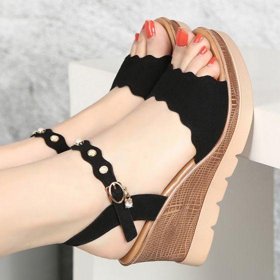 Hermoso Negro Ropa de calle Sandalias De Mujer 2020 Rhinestone 8 cm De Cuña Plataforma Peep Toe Sandalias