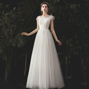 Modest / Simple Ivory Spotted Wedding Dresses 2020 A-Line / Princess Square Neckline Cap Sleeves Backless Floor-Length / Long