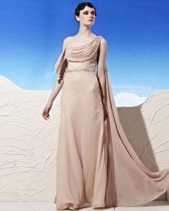 Rüschen Asymmetrischen Ausschnitt Bodenlange Ärmellos Sicken Tencel Imperium Frau Abendkleid