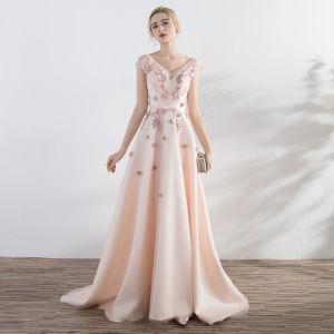 Elegante Candy Roze Gelegenheid Jurken A lijn 2017 Kant Bloem Strik Kralen Ruglooze V-Hals Korte Mouwen Rechter Trein Galajurken