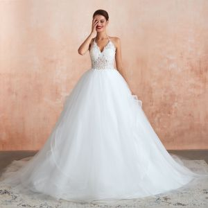 Illusion Ivory Wedding Dresses 2020 Ball Gown Halter Backless Sleeveless Appliques Lace Court Train Ruffle