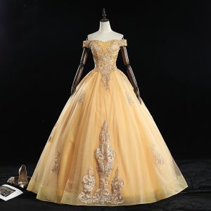 Classic Gold Quinceañera Prom Dresses 2019 Ball Gown Off-The-Shoulder Beading Sequins Lace Flower Sleeveless Backless Floor-Length / Long Formal Dresses