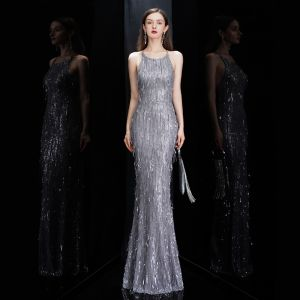 Sexy Grey Evening Dresses  2020 Trumpet / Mermaid Scoop Neck Sleeveless Sequins Tassel Floor-Length / Long Ruffle Backless Formal Dresses
