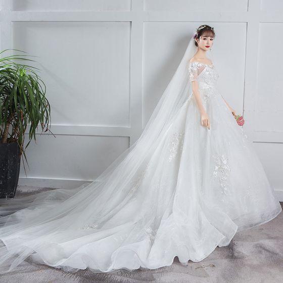 Elegantes Marfil Embarazada Vestidos De Novia 2019 Empire Fuera Del Hombro Lentejuelas Apliques Con Encaje Flor Manga Corta Chapel Train