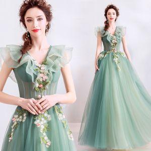 Elegante Salbeigrün Ballkleider 2019 A Linie Rüschen V-Ausschnitt Spitze Blumen Applikationen Ärmellos Rückenfreies Lange Festliche Kleider