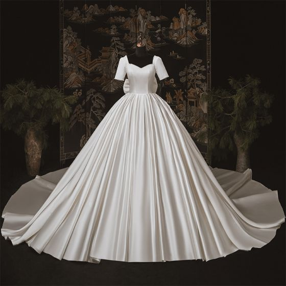 Luxury / Gorgeous Ivory Satin Bridal Wedding Dresses 2020 Ball Gown Square Neckline Short Sleeve Backless Bow Beading Pearl Chapel Train Ruffle