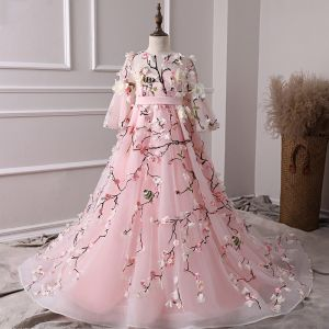 Fée Des Fleurs Rose Bonbon Transparentes Robe Ceremonie Fille 2019 Princesse Encolure Dégagée Manches de cloche Ceinture Brodé Appliques Fleur Train De Balayage Volants Robe Pour Mariage
