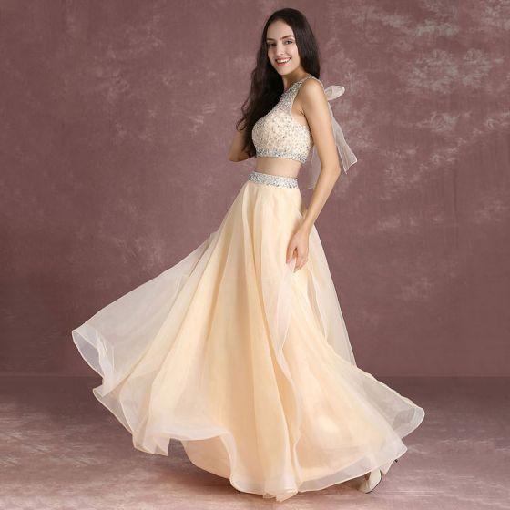 6131d6cb5 Bling Bling 2 Piezas Nude Vestidos de gala 2017 A-Line   Princess Scoop  Escote Sin Mangas Ruffle Organza Rebordear ...