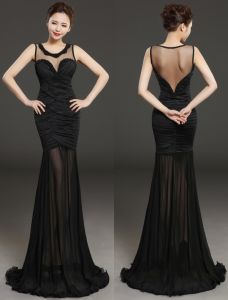 Glamorous Evening Dresses 2016 Beading Scoop Neckline Pleated Black Chiffon Backless Long Dress