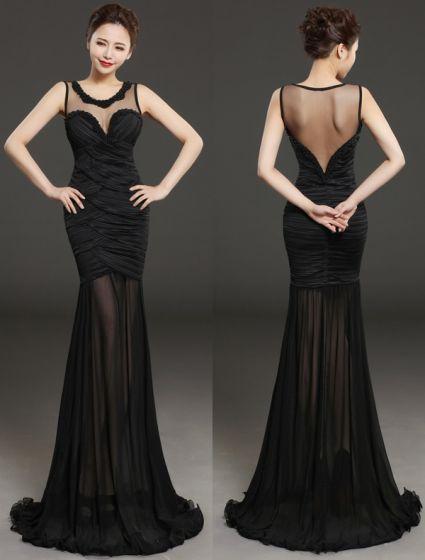 Glamorous Evening Dresses 2016 Beading Scoop Neckline Pleated Black Chiffon Backless Long Dress