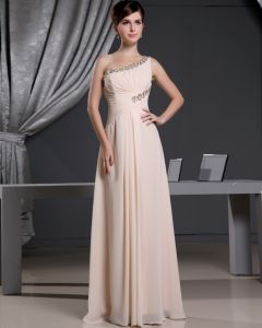 Fashion Chiffon Charmeuse Silk Beaded Pleated One Shoulder Court Train Sleeveless Women Evening Dress