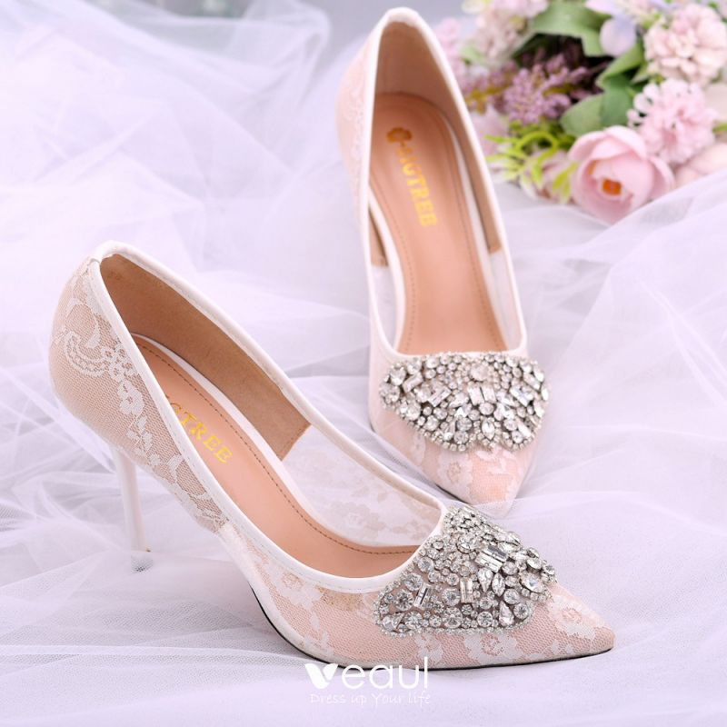 Elegant Silver Wedding Shoes 2018 Crystal Pearl Patent