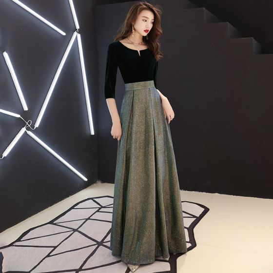 1aa8093334 Elegantes Negro Vestidos de noche 2019 A-Line   Princess Suede Scoop Escote  Glitter Poliéster 3 4 ...